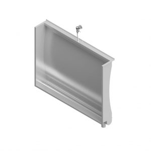 B17710 Curved Back Recessed Trough Urinal