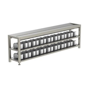 B38222S Changing Room Step-Over Bench With Two-Tier Shoe Storage Shelf