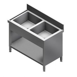 E22226DC Sink & Cabinet Base With Double Bowl & Splash Back