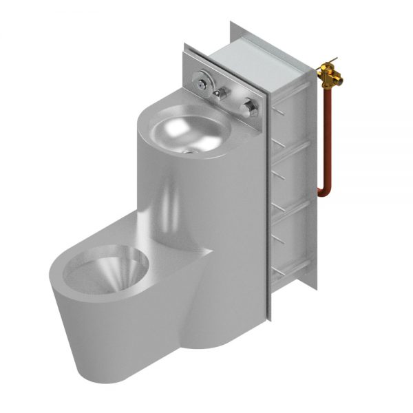 B17685 Maximum Security WC Pan & Wash Hand Basin Combination Unit With Tapware & Security Wall Sleeve