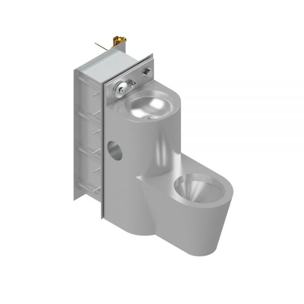 B17685 Maximum Security WC Pan & Wash Hand Basin Combination Unit With Tapware & Security Wall Sleeve (Alternative View)