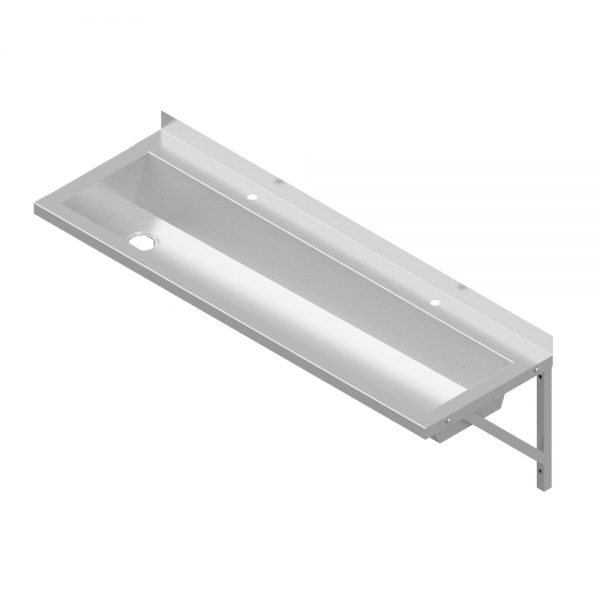 B346741200L Wall Mounted Stainless Steel Wash Trough 1200mm Length Left-Hand Waste Outlet With Tap Landing