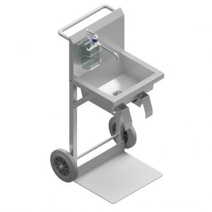 B36344D Mobile Knee Operated Wash Basin With Upstand and Hands-Free Sanitizer Dispenser